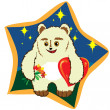 White bear with flowers and hearts — Stockvector