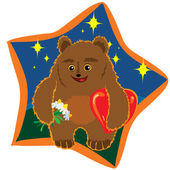 Brown bear with flowers and hearts — Stock Vector