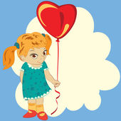 Girl with balloon — Stockvektor