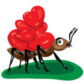 Ant with hearts — Stock Vector
