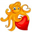 Octopus with heart — Stock Vector #40257381