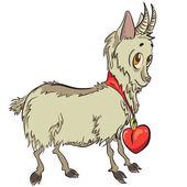 Little goat with heart — Vector de stock