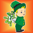 Boy in a dress with bouquet of Irish clover — Stock Vector