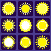 Set of Nine Icons With Sun — Stock Vector
