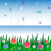 Banners with repeating pattern tile of grass and sky — Vector de stock