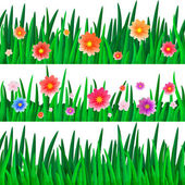 Banners with repeating pattern tile of isolate grass with flowers — Stock Vector