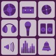 ������, ������: Set collection of nine purple music icons