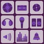 Постер, плакат: Set collection of nine purple music icons