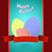 Easter retro card with  paper eggs and ribbon for greeting — 图库矢量图片
