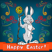 Easter bunny with egg and cane — Stock Vector
