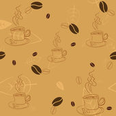 Seamless pattern with coffee beans, cups and leaves — Stock Vector