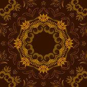 Vektör yuvarlak desenli arka kahverengi çiçek plan — Stok Vektör