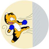 Vector cartoon cute young tiger of martial arts beats a wall — Vetorial Stock