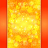 Elegant orange ornate background with lace ornament and boke — Stock Vector