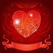 открытка с сердцем и ленты для приглашения на свадьбу или день святого валентина — Cтоковый вектор