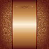 Brown with gold damask pattern royal invitation card — Vector de stock