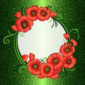 Arka plan ile haşhaş kırmızı ve yeşil damask desenli — Stok Vektör
