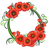 Floral frame with red poppies and green swirls. — Stock Vector