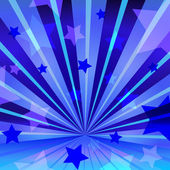Abstract blue background with stars and radiating — ストックベクタ
