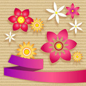 Card with simple flowers and ribbon — Stock Photo