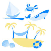 Illustration set of icons with vocation and sea themes — Stock Vector