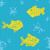 Seamless Marine Vector Pattern with fish — Stock Vector