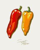 Rysunek wektor czerwonej i żółtej papryki słodkie — Wektor stockowy