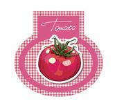 トマトのラベル。レトロなステッカー. — ストックベクタ