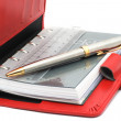 Red notebook with pen — Stock Photo