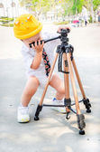 Tripod hold baby — Stock Photo