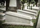 Tombstones in very old cemetery Museum Prasasti — Stock Photo