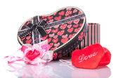 Heart Shaped Love with gift box present — Stock Photo