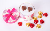 Heart Shaped Chocolate Love in rounded gift box Valentines Day — Stok fotoğraf