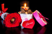 Heart Shaped Chocolate Love with candle and red rose Valentines Day — Stock Photo