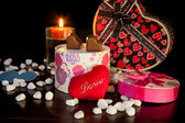 Heart Shaped Chocolate Love with candle Valentines Day — Stok fotoğraf