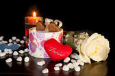 Heart Shaped Chocolate Love with candle and white rose Valentines Day — Stock Photo