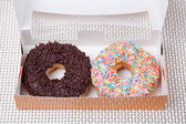Colorful and chocolate Donut in a box — 图库照片