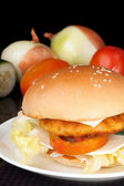Big Homemade Cheese Chicken Burger — Stock Photo