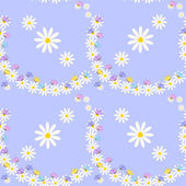 Vector seamless pattern of butterflies and daisies — Stock vektor