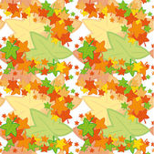 Vector seamless pattern of colored maple leaves — Stock Vector