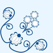 Vector ornament with flowers and curls — 图库矢量图片