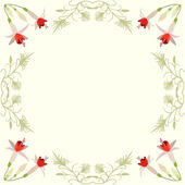 Vector frame with flowers and swirls — Stock vektor