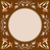 Rama wektor z kwiatów i loki na brązowym tle — Wektor stockowy