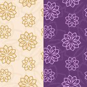 Vector set of seamless patterns of abstract flowers in light and dark colors — Stockvektor