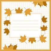 Cover for school notebook with maple leaves in the white cell. Vector eps 10. — 图库矢量图片