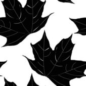 Black and white seamless pattern of maple leaves. Vector eps10. — Stock Vector