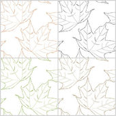 Set of seamless patterns with contours of maple leaves. Vector eps 10 — Stock Vector