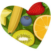 The heart, full of juicy fruits — Stock Vector