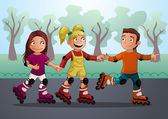 Three teenagers on the roller skates — Stock Vector