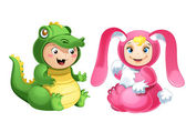 Vector clip-art of the two cute babies in the animal costumes — Stock Vector